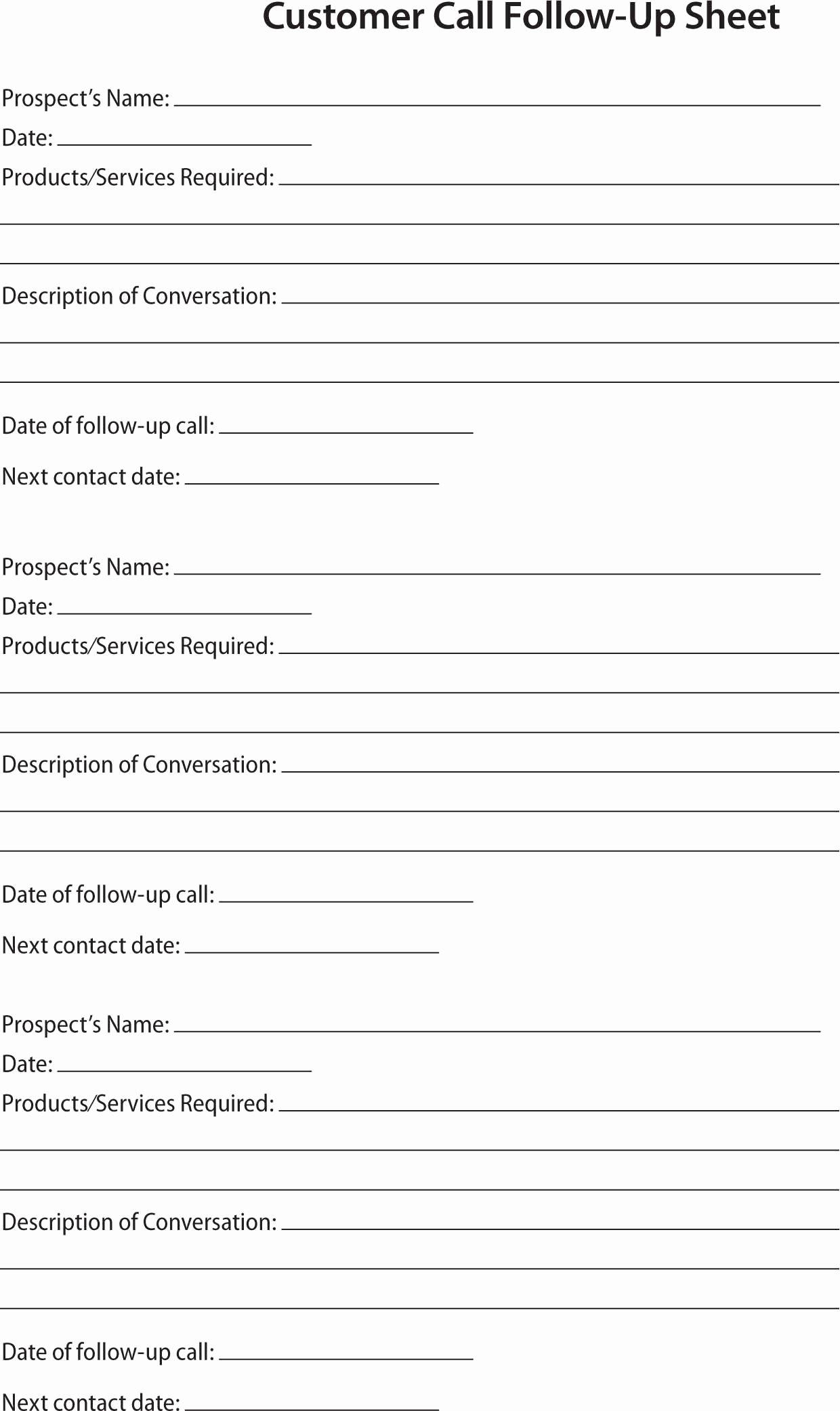 Client Contact form Lovely 80 20 Prospect Sheet Customer Call Follow Up