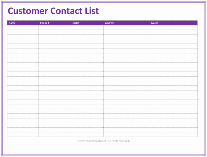 Client Contact form New Customer Contact List Template