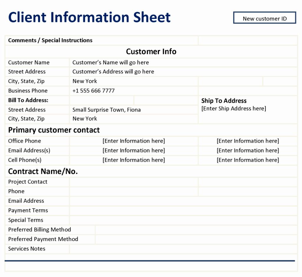 Client Data Sheet Template Best Of Client Information Sheet Template