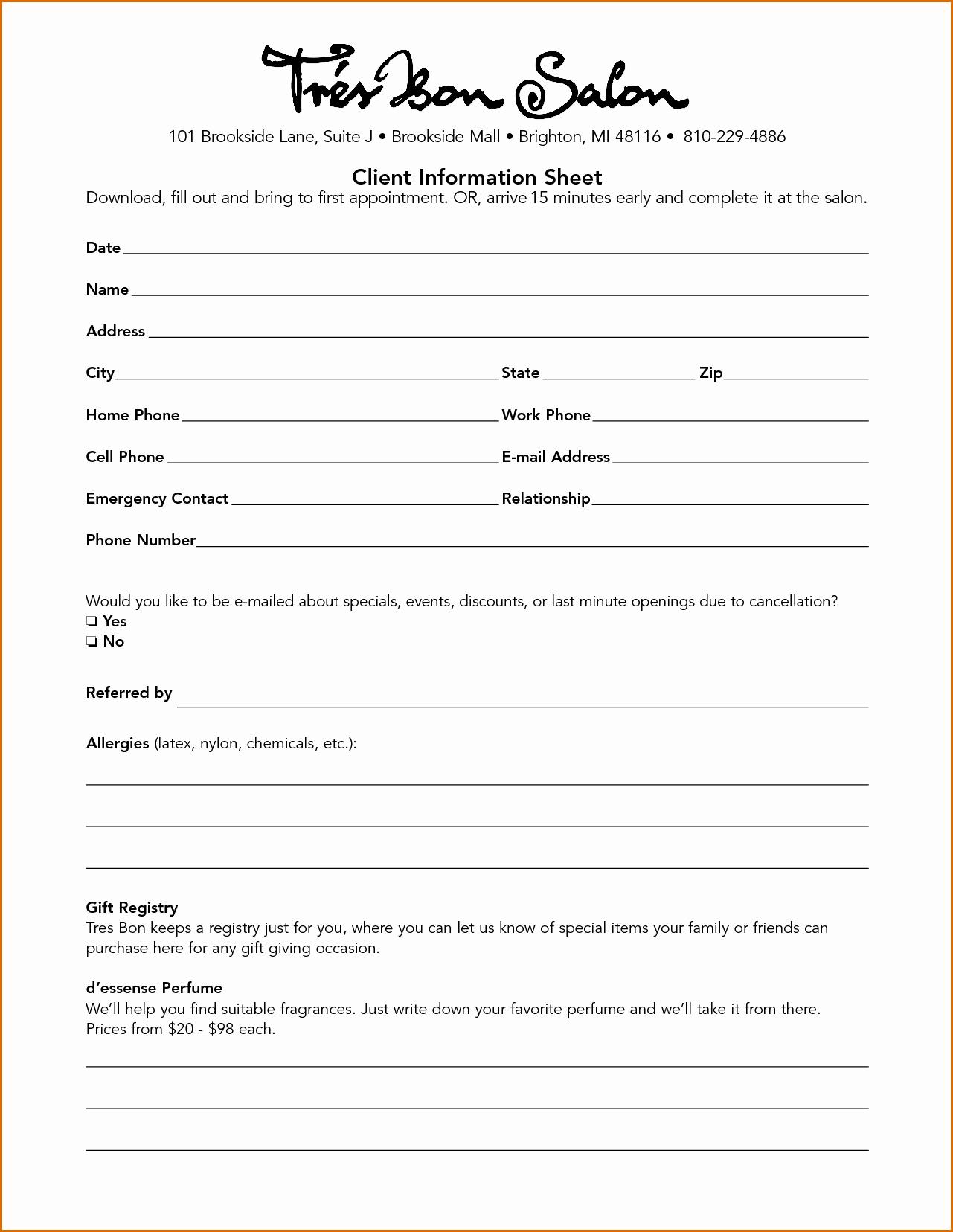 Client Data Sheet Template Fresh 10 Client Information Sheet Template