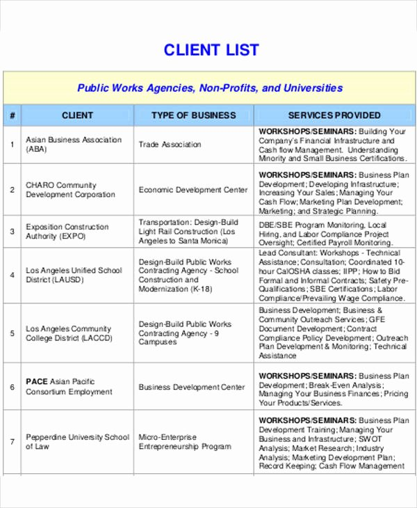 Client Database Template Elegant Client List Template 9 Free Word Pdf format Download