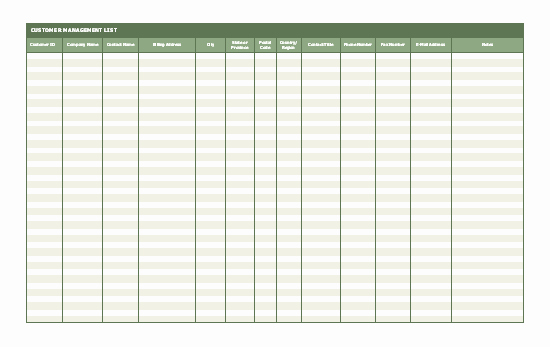 Client Database Template Inspirational Customer Contact List