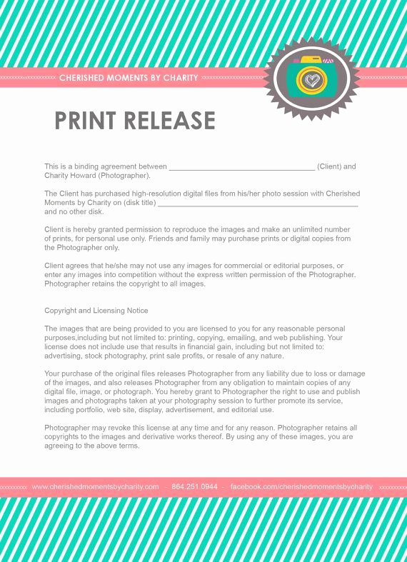 Client Print Release form Template Awesome Print or Copyright Release for Photographers Only $8 by