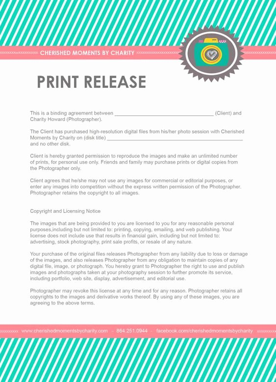 Client Print Release form Template Best Of Print or Copyright Release for Photographers Only $8 by