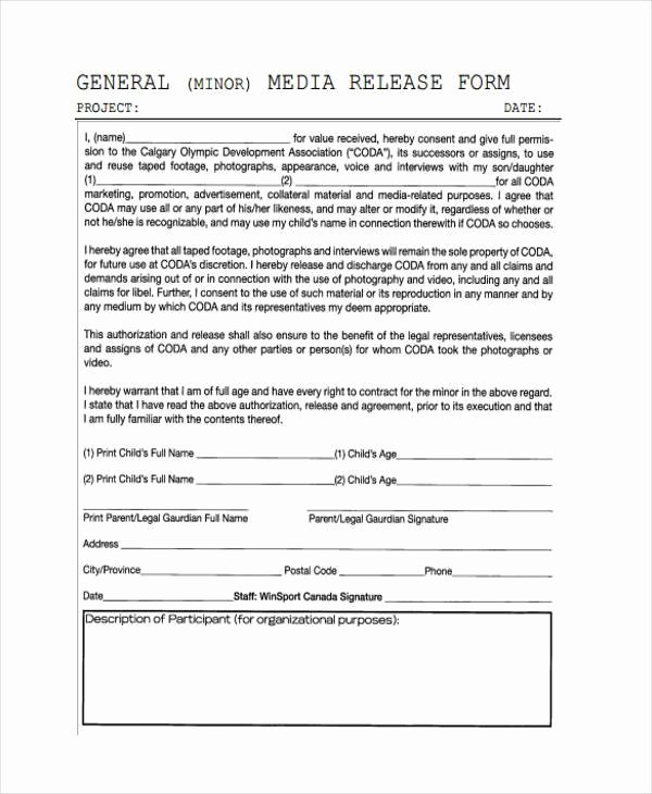 Client Print Release form Template Best Of Release form Templates