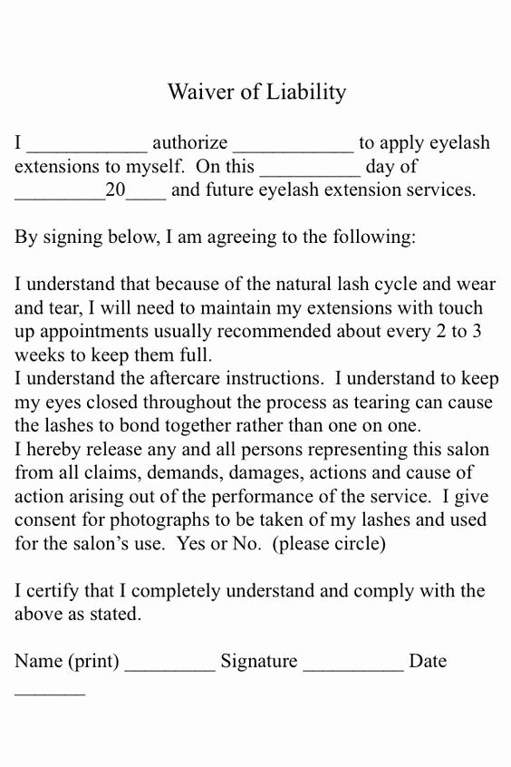 Client Print Release form Template New A Simple Eyelash Extension Consent form for Your Use