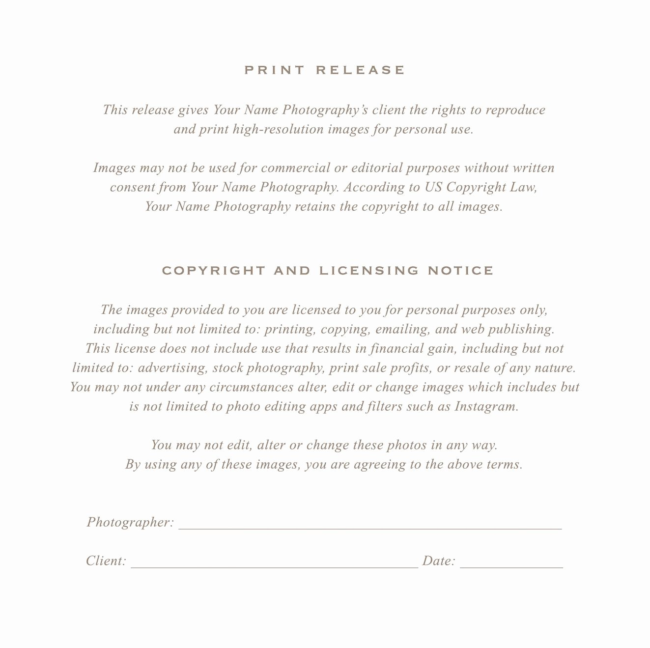 Client Print Release form Template New Grapher Print Release form by