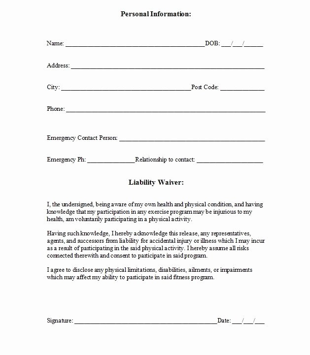 Client Print Release form Template Unique Printable Sample Release and Waiver Liability Agreement