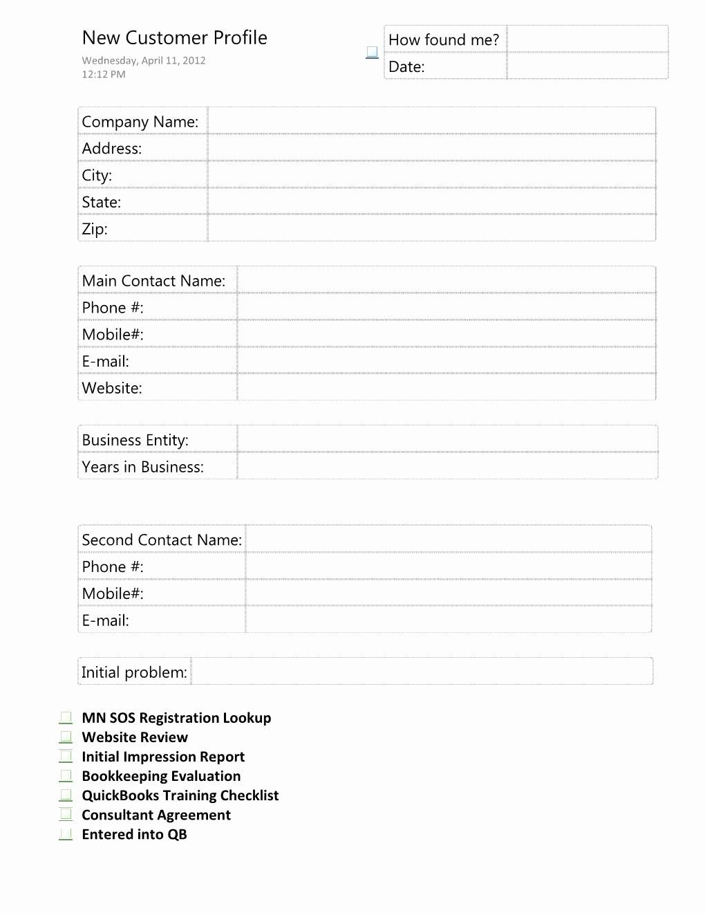 Client Profile Template Word Best Of 28 Of Customer Profile Template Excel