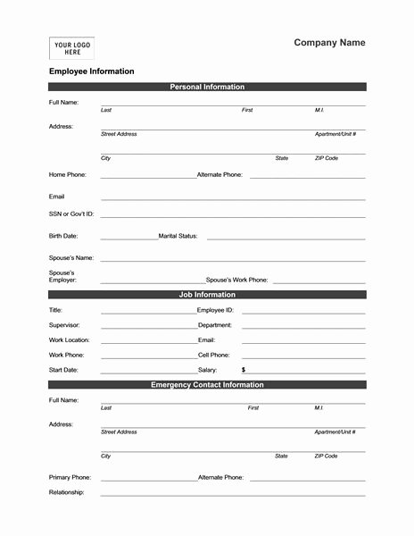 Client Profile Template Word Inspirational Employee Information form Templates Mbo