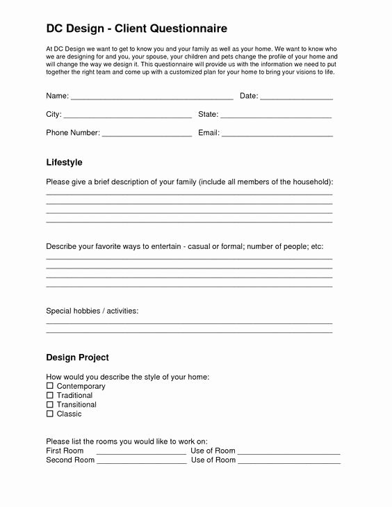 Client Profile Template Word Lovely Image Result for Interior Design Questionnaire Template