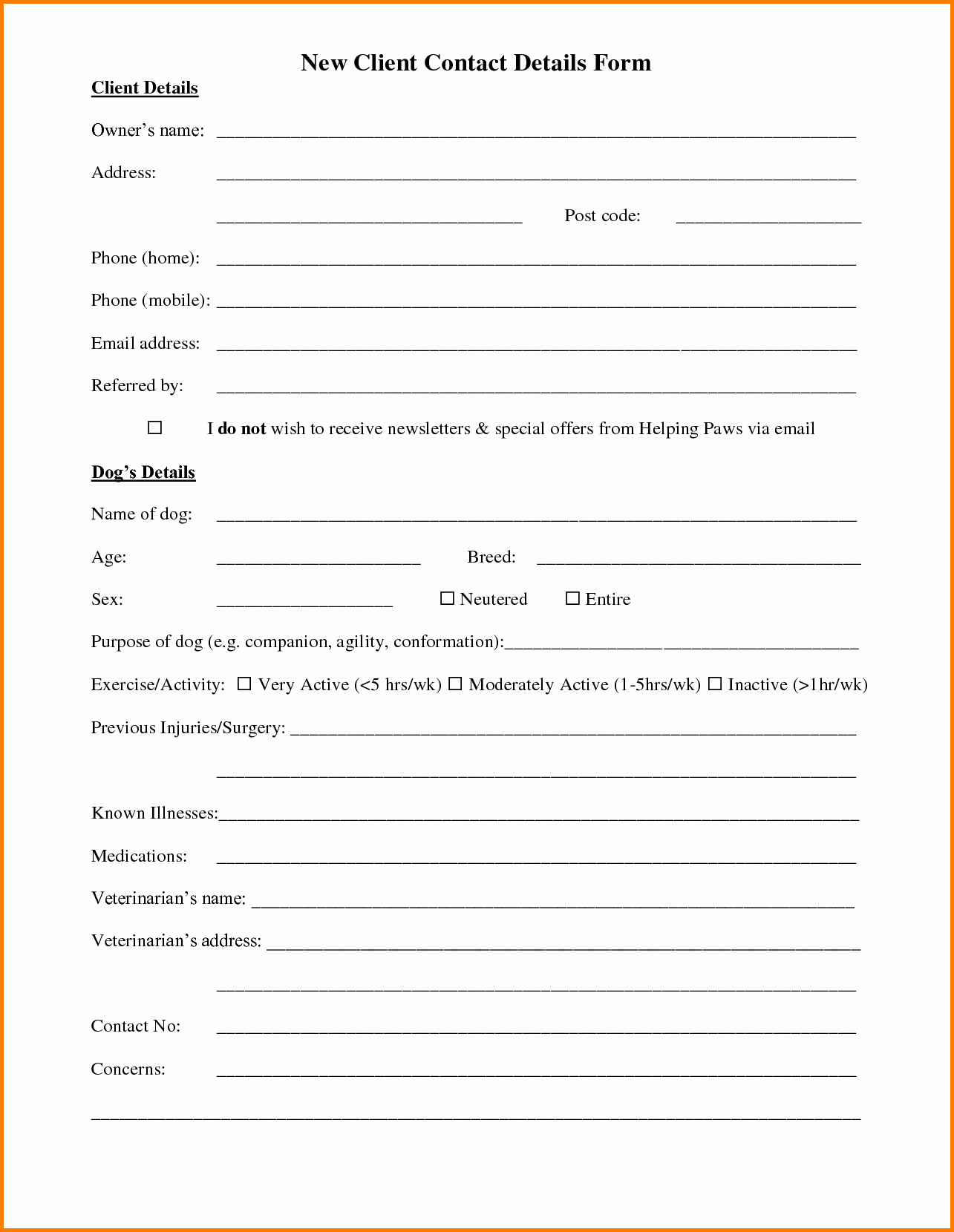 Client Profile Template Word Unique Customer Information form Template