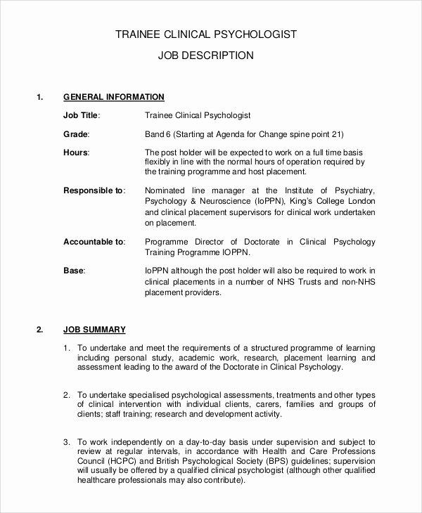 Clinical Development Plan Template Elegant 7 Psychologist Job Description Samples