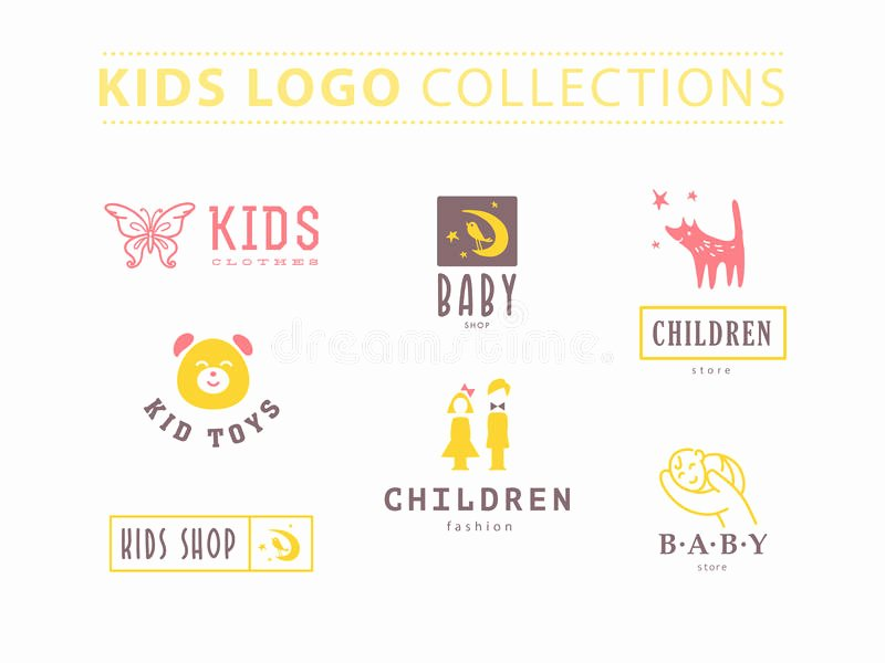 Clothing Label Template Unique Kids Fashion Label Design Stock Vector Illustration Of
