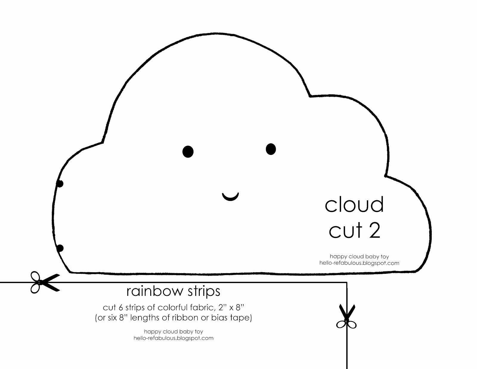 Cloud Template Printable New Hello Refabulous Happy Cloud Baby toy Tutorial
