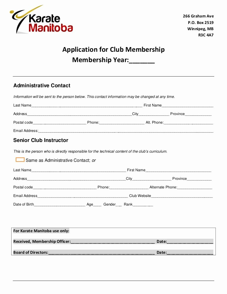 Club Application Template Awesome Club Instructor Application form Karate Manitoba 2012 2013