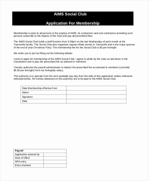 Club Application Template Beautiful 12 Sample Membership Application forms
