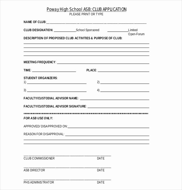 Club Application Template Lovely 15 Sample Club Application Templates Pdf Doc