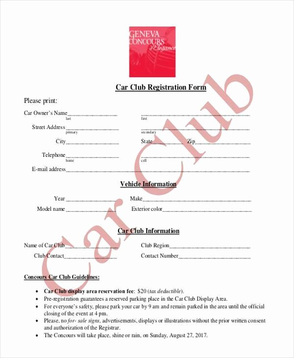 Club Application Template Lovely Car Club Registration form Template Templates Resume