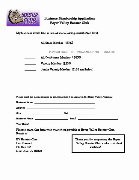 Club Application Template Unique Boyer Valley Munity School District Be E A Booster