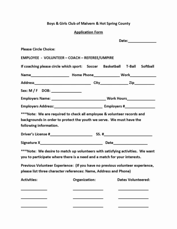Club Application Template Unique Volunteer form Template