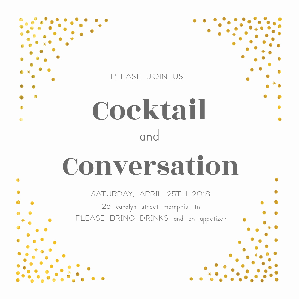 Cocktail Party Invite Templates Beautiful Free Invitation Template Cocktail Dots