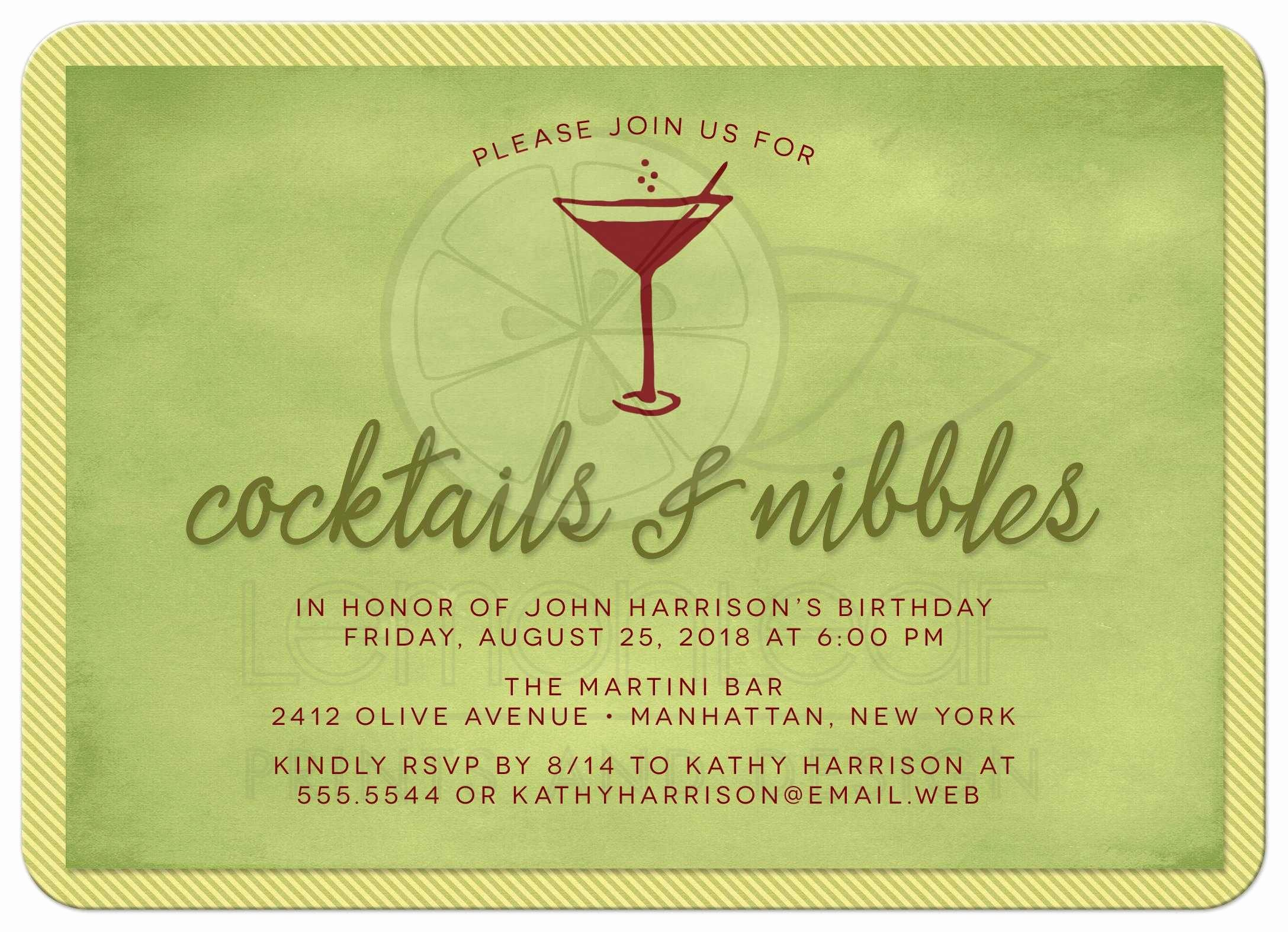 Cocktail Party Invite Templates Fresh Cocktail Party Invitations Cocktails & Nibbles