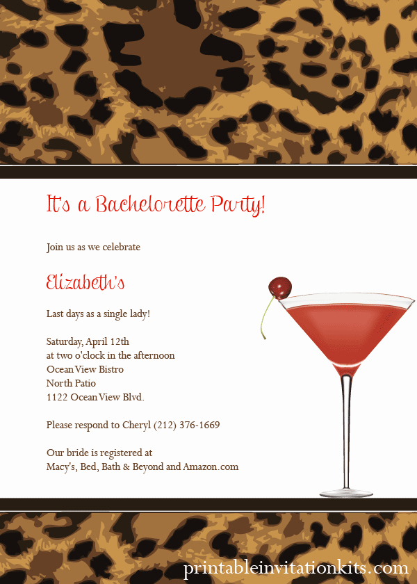 Cocktail Party Invite Templates Inspirational Leopard Print Cocktail Party Invitation ← Wedding