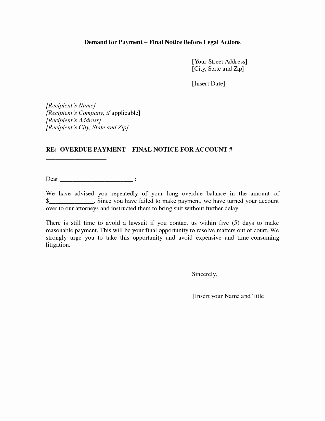 Collection Demand Letter Template Beautiful Best S Of Final Notice Letter Final Notice before