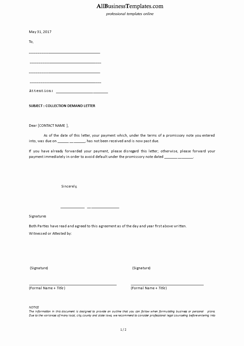 Collection Demand Letter Template Beautiful Collection Demand Letter Template