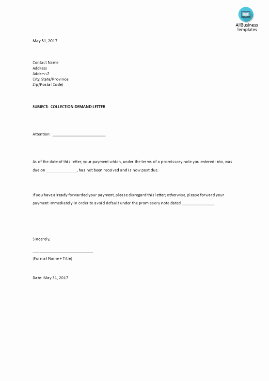 Collection Demand Letter Template Lovely Free Demand Letter Sample