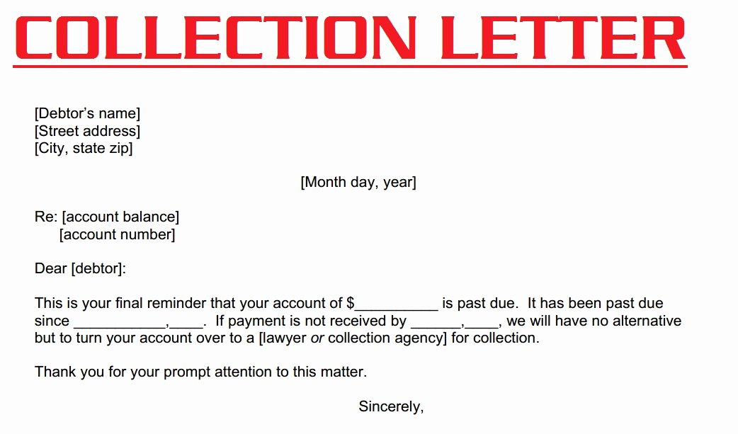 Collection Letter Final Notice Inspirational Collection Letter 3000 Sample Collection Letter