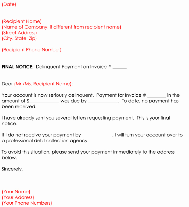 Collection Letter Final Notice Luxury Collection Letter Templates 8 Sample Letters for Debt