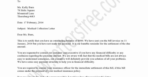 Collection Letter for Medical Office Elegant Medical Collection Letter Example Should Be Used as A