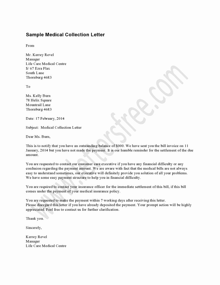 Collection Letter for Medical Office New Medical Collection Letter Example Should Be Used as A