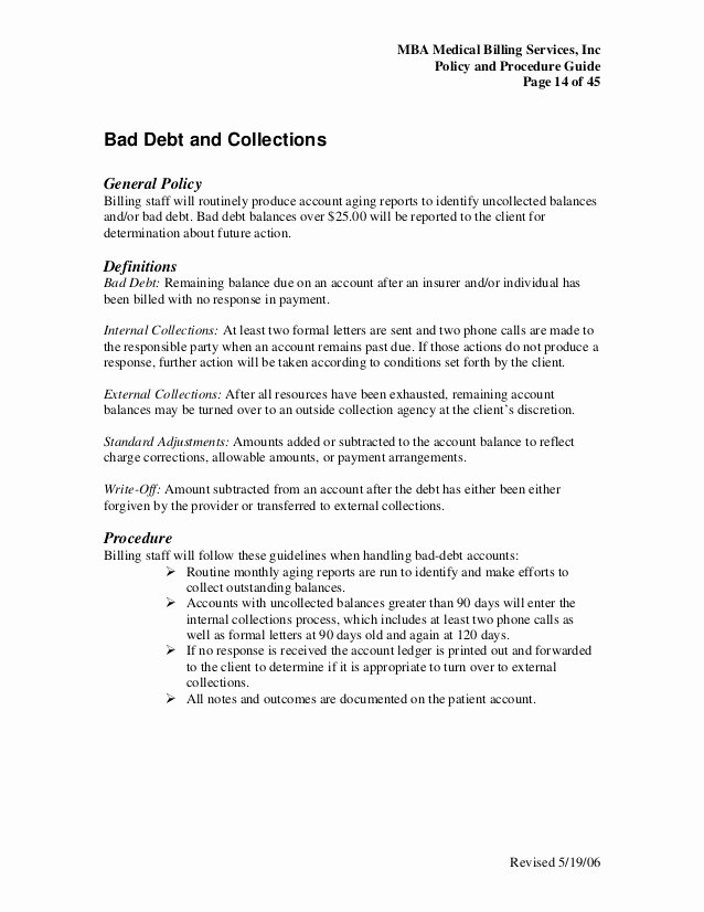 Collection Letter for Medical Office Unique Medical Billing Policy Procedure Guide