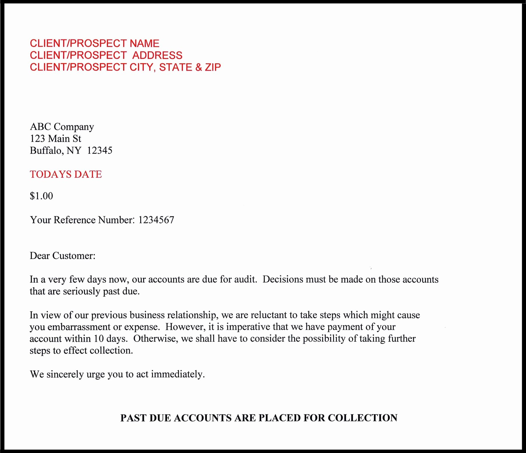 Collection Letter Template Final Notice Best Of Small Balance Collection Service