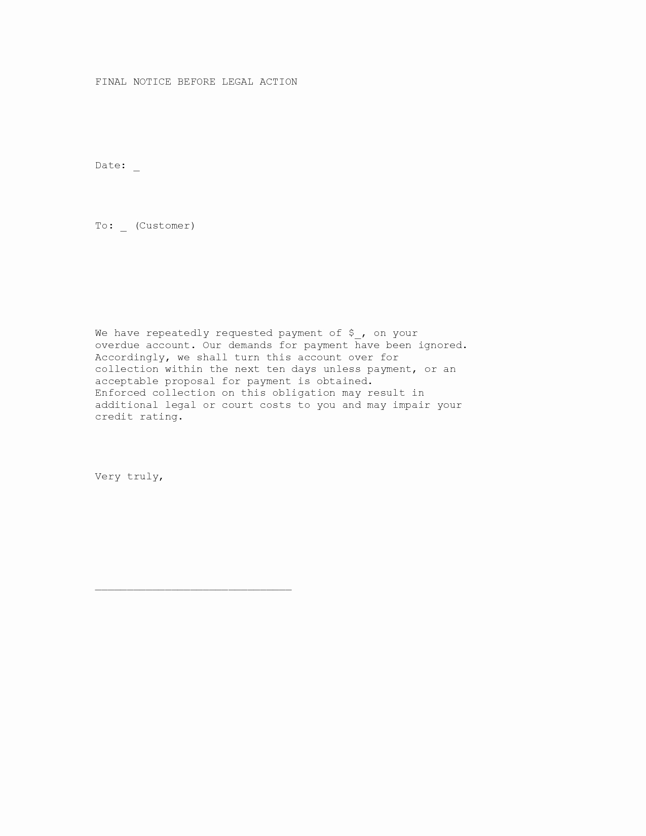 Collection Letter Template Final Notice Lovely Best S Of Collection Letter before Legal Action