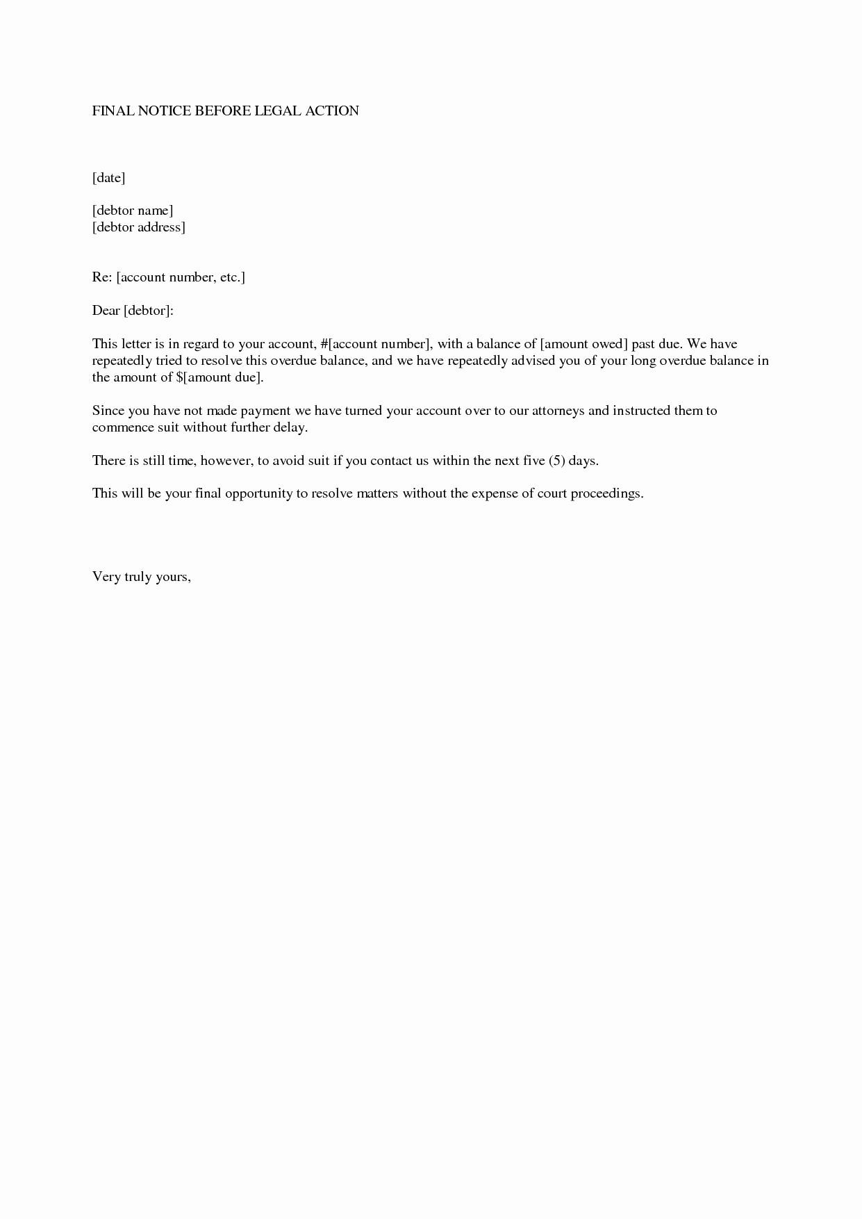 Collection Letter Template Final Notice Lovely Best S Of Notice Legal Action Letter Final