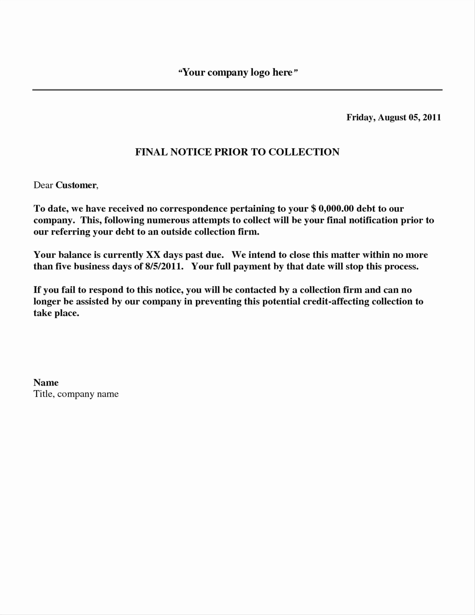 Collection Letter Template Final Notice Lovely Debt Collection Template Letter Free Download