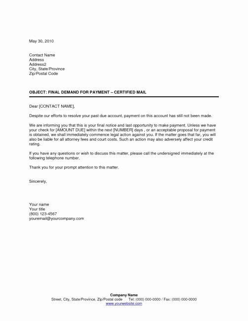 Collection Letters Final Notice Elegant Collection Letter Template Final Notice