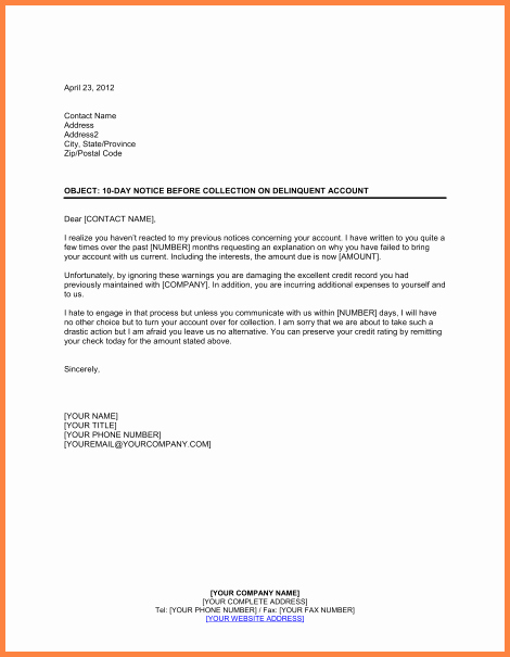 Collection Letters Final Notice Lovely 15 Collection Letter Template Final Notice