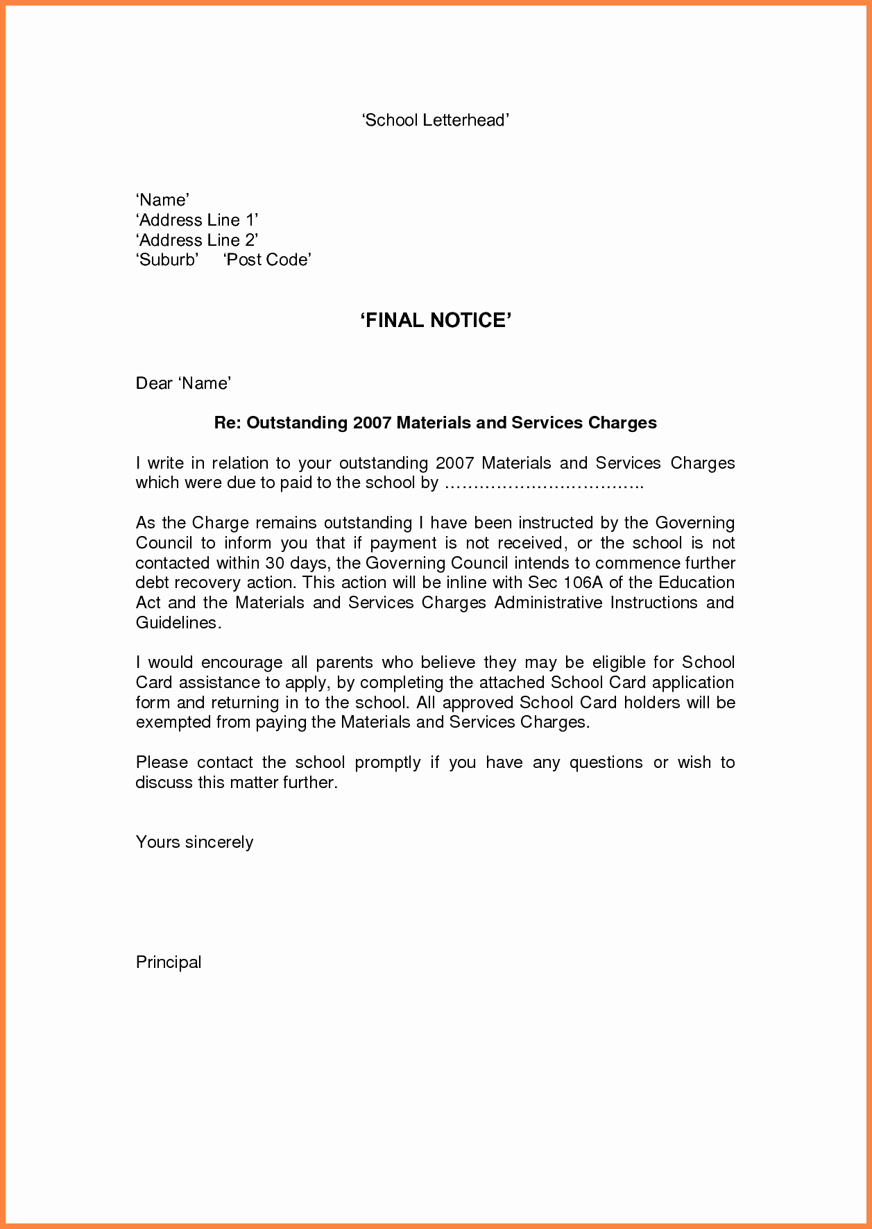 Collection Letters Final Notice New 9 Final Notice Example