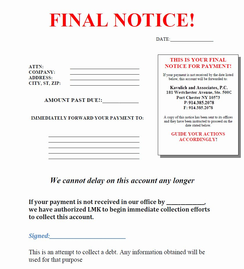 Collection Letters Final Notice New Mercial Debt Collection Lawyer Westchester
