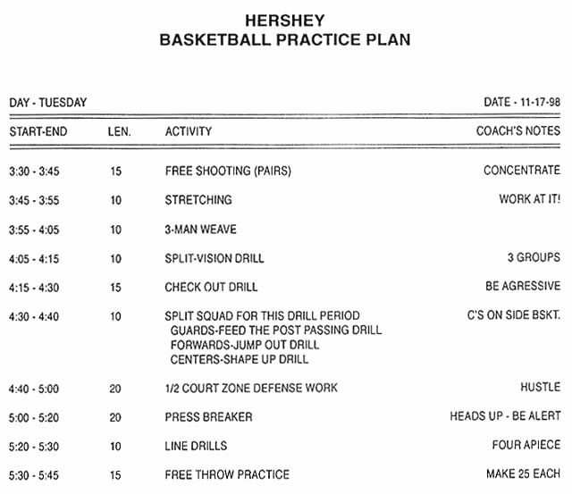 College Football Practice Schedule Template Beautiful Park Enterprises Basketball Practice Plan software