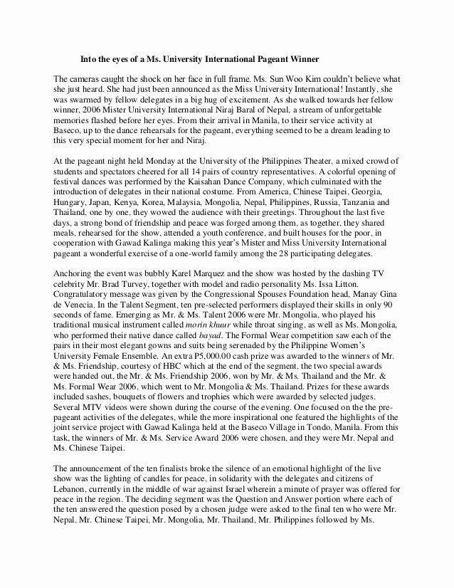 College Introduction Paragraph Examples Best Of Into the Eyes Of A Ms University International Pageant