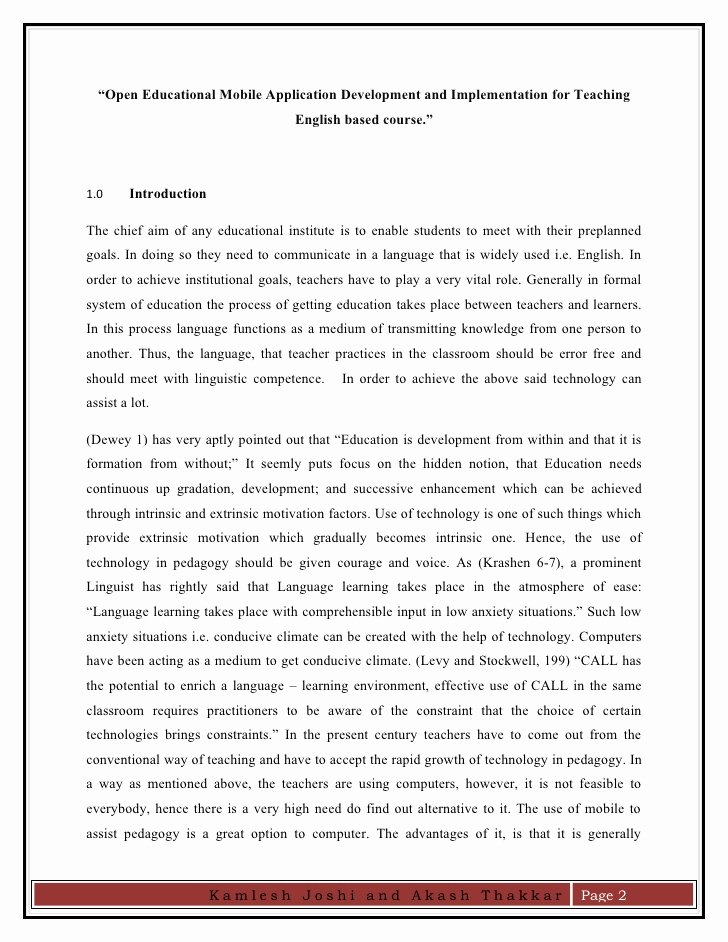 College Introduction Paragraph Examples Inspirational Kamlesh Akash Research Paper On Open Educational App