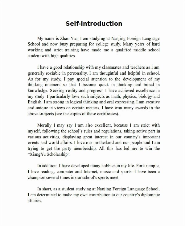 College Introduction Paragraph Examples New Sample Essay About Myself Introduction