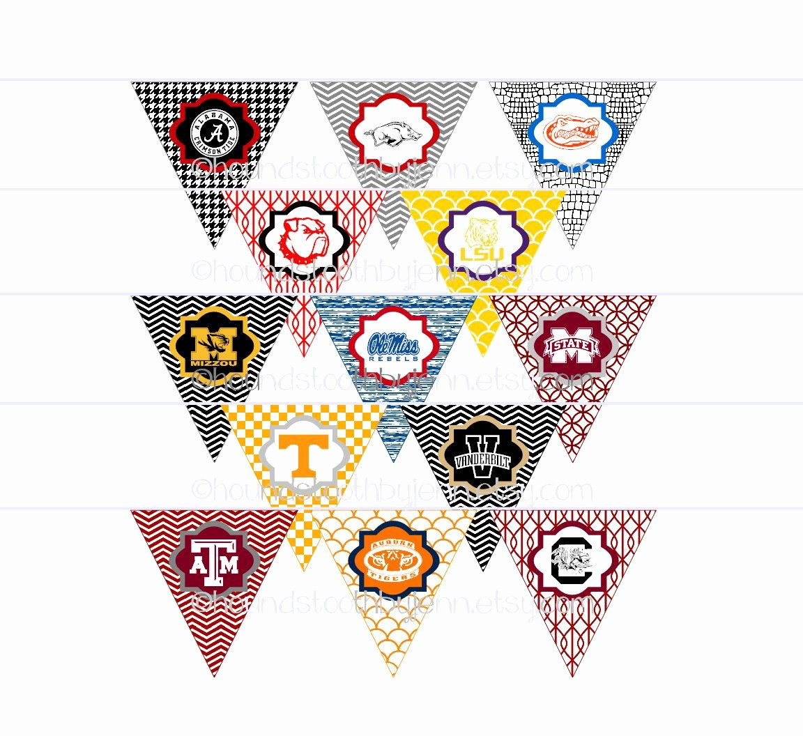 College Pennants Printable Awesome Diy Printables Pennants Collegiate Tailgate Digital