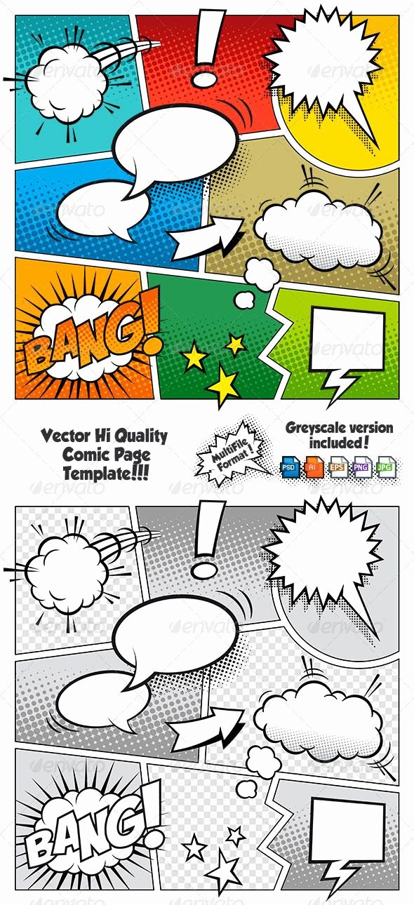 Comic Book Template Photoshop Awesome Color Ic Book Page Template Vectors